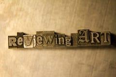 Esaminando arte - segno dell'iscrizione dello scritto tipografico del metallo Immagini Stock