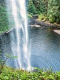 Esaminando con le cascate il ponte di legno del piede Immagine Stock Libera da Diritti