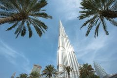 Esaminando la cima del mondo con Burj Khalifa Fotografie Stock Libere da Diritti