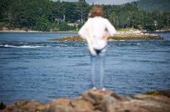 Esaminando una baia in Maine Immagini Stock