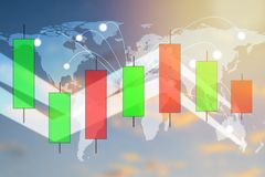 Esamini in controluce il grafico del grafico del bastone del commercio di investimento del mercato azionario illustrazione vettoriale