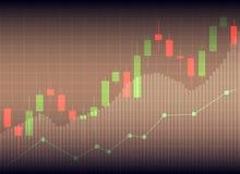Esamini in controluce il grafico del grafico del bastone del commercio di investimento del mercato azionario, Sto illustrazione di stock