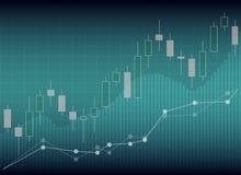 Esamini in controluce il grafico del grafico del bastone del commercio di investimento del mercato azionario, Sto illustrazione vettoriale