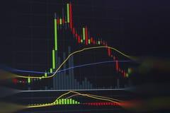 Esamini in controluce il grafico per reddito di capitale nell'affare finanziario fotografie stock libere da diritti