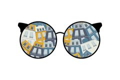 Esamini il mondo attraverso i vetri case - illustrazione illustrazione vettoriale