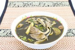 Esan jedzenie, pieczarkowy curry na macie Zdjęcia Stock