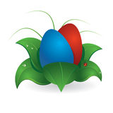 Esater. Illustration of Easter eggs in a leaves Royalty Free Stock Image