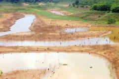 Esaurimento di fonte d'acqua, terra di siccità, sicurezza dell'acqua Fotografie Stock Libere da Diritti