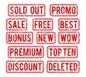 Esaurito e promo, vettore di vendita di indennità timbra illustrazione vettoriale