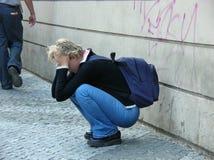 Esaurito sulle vie di Praga Immagini Stock Libere da Diritti