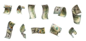 Esazione delle banconote di volo di cento dollari Vista dagli angoli differenti fotografia stock