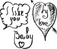 Esboça meu amor, mim gostam de você, bebê Ilustração do Vetor