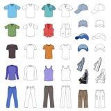 Esboçado & coloriu o menswear, a chapelaria & as sapatas ajustados ilustração royalty free