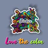 Esboçado decorativo das garatujas multicoloridos do teste padrão Foto de Stock