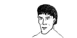 Esboçando o retrato do homem Imagens de Stock