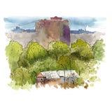 Esboçando a paisagem urbana com aquarela ilustração do vetor