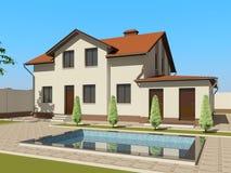 esboço 3D da casa ilustração do vetor