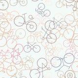Esboço abstrato do fundo sem emenda da bicicleta, mão tirada para o projeto Colorido, digital, detalhes & Web ilustração stock