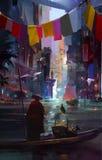 Esboço, ambiente urbano do futuro Imagens de Stock Royalty Free