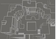 Esboço arquitetónico da multi-história que constrói o fundo do cinza da vista superior Fotografia de Stock