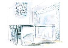 esboço arquitetónico da sala de visitas Fotos de Stock Royalty Free