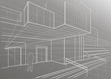 Esboço arquitetónico de uma construção cúbica Fotografia de Stock Royalty Free