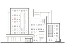 Esboço arquitetónico linear da construção de vários andares com janela vermelha Fotografia de Stock Royalty Free
