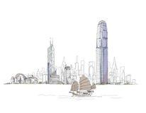 Esboço artístico da baía de Hong Kong, coleção do esboço ilustração royalty free