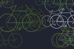 Esboço artístico do sumário tirado mão do fundo da bicicleta Detalhes, contexto, papel de parede & desarrumado ilustração do vetor