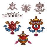 Esboço auspicioso do símbolo da religião do budismo ilustração do vetor