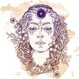 Esboço branco da deusa em um fundo do grunge Fotografia de Stock