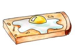 esboço Café da manhã da manhã - ovo frito no brinde ilustração royalty free