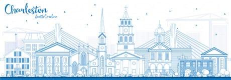 Esboço Charleston South Carolina Skyline com construções azuis