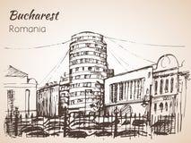 Esboço cilíndrico da construção Bucareste, Romania Imagens de Stock