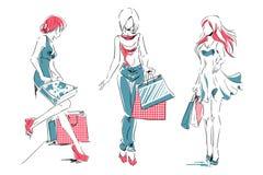 Esboço com as meninas elegantes com sacos de compras Fotos de Stock