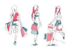 Esboço com as meninas elegantes com sacos de compras Imagens de Stock