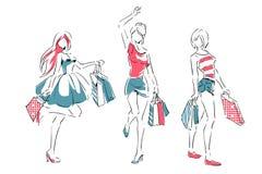 Esboço com as meninas elegantes com sacos de compras Foto de Stock Royalty Free
