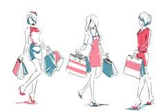 Esboço com as meninas elegantes com sacos de compras Foto de Stock