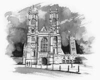 Esboço da abadia de Westminster Foto de Stock