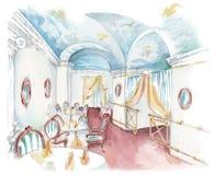 Esboço da aquarela de um interior clássico do restaurante do marisco ilustração do vetor