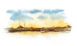 Esboço da aquarela da vista panorâmica de Istambul, Turquia imagem de stock