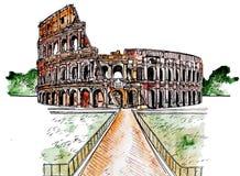 Esboço da arquitetura Colosseum romano Esboço pintado imitação da aquarela Desenho da arquitetura do bloco de desenho do curso ilustração do vetor