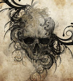 Esboço da arte da tatuagem, crânio com flourishes tribais ilustração stock