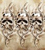 Esboço da arte da tatuagem, crânios Fotos de Stock Royalty Free