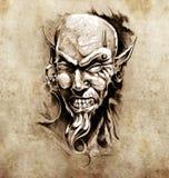 Esboço da arte do tatuagem, cabeça do diabo com perfuração Fotografia de Stock