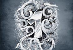 Esboço da arte do tatuagem, um número, mão - feita Fotos de Stock Royalty Free