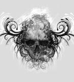 Esboço da arte da tatuagem, crânio com flourishes tribais foto de stock
