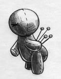 Esboço da boneca do vudu da dor nas costas ilustração do vetor