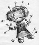 Esboço da boneca do vudu da mulher de negócios ilustração stock