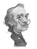 Esboço da caricatura de Salvador Dali Foto de Stock